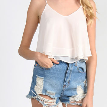 Double Layered Flowy Crop Tank - Cream - Large