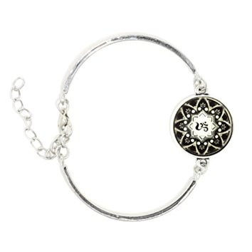 Om Necklace Bracelet Silver Tone Aum BE22 Hindu Buddhist Yoga Art Black White Print Fashion Jewelry