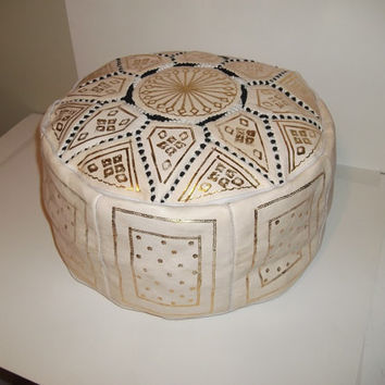 Moroccan Pouf leather Pouf Ottoman Poof Pouffe pouffes hassock Footstool Beige