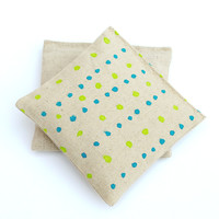 Blue & Green Polka Dots Hand Painted Organic Lavender & Rose Sachet Set