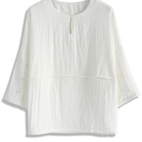 Leisure Day Smock Top in White