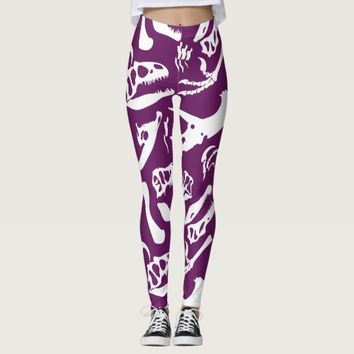 Dinosaur Bones (Purple) Leggings