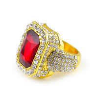 Men's Gold Plated Hip Hop Iced Red Stone Cz Ring Size Available Luxury Woman Ring Mens Fashion Finger Bling Hip Hop Ring