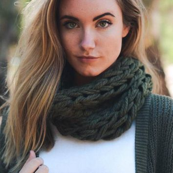 Chunky Monkey Continuous Knit Scarf - Olive