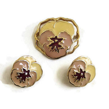 Yellow and Red Enamel Pansy Flower Brooch and Earrings Set Vintage MINT