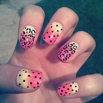 Colourful, Ombré, Gradient Polka Dot, Leopard Print Nail Art - Fake Nail Set, False, Acrylic, Artificial, Hand Painted, Press On Nails