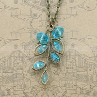 Vintage style necklace with aqua blue crystal pendant