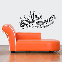 Room Wall Vinyl Sticker Decals Mural Design Mural Music Is The Prayer Heart Sings Notes 849