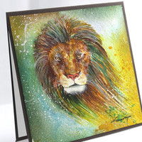 OOAK Original Watercolor Card, NOT A PRINT, Handmade Card, Lion Card, Blank Card, All Occasions, Original Painting, One-of-a-king Card, Art