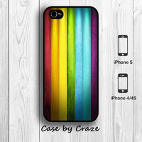 Rainbow Vertical Texture Stripe Line iPhone 5 / 5S / 4S Hard Case Red Orange Yellow blue green Purple Back Cover --000053