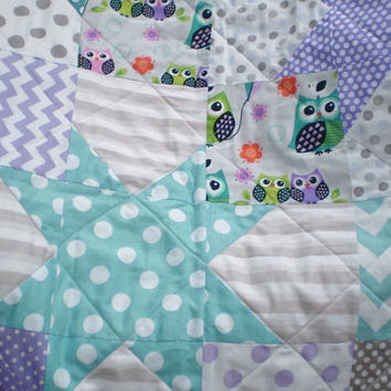Modern Baby quilt,patchwork crib quilt,baby boy or girl bedding,woodland,rustic,teal,grey,purple,owls,chevrons,dot,toddler,Falling star Owls
