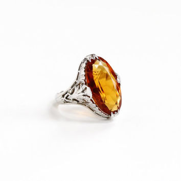 Sale - Vintage 18k White Gold Filigree Citrine Ring - Antique Size 5 1/4 Art Deco 1920s 1930s Orange Yellow Gemstone Fine Statement Jewelry