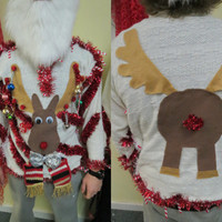 Homemade Custom 3-D Hysterical Reindeer Tacky Ugly Christmas Sweater  Wild Garland Light UP Mens Womens Long Sleeve