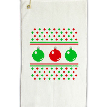 """Ugly Christmas Sweater Ornaments Micro Terry Gromet Golf Towel 11""""x19"""