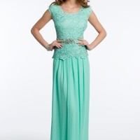 Lace and Chiffon Dress with Rhinestone Brooch