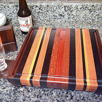 Handmade Medium Wood Cutting Board with Drip Channel and Drink Coaster Set - The Retro - Bloodwood, Black Walnut, Hard Maple and Mahogany