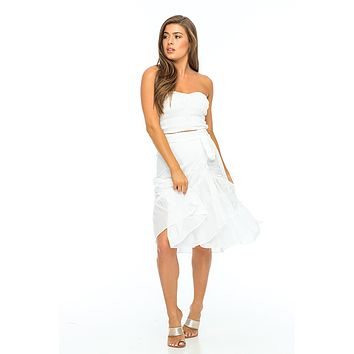 INDAH Lola Ruffle Wrap Skirt in White