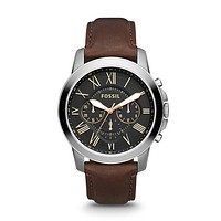 Grant Chronograph Leather Watch, Brown & Charcoal | FOSSIL