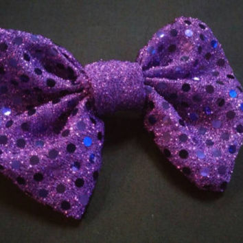 Sparkle Purple Dot hair bow, perfect for all ages