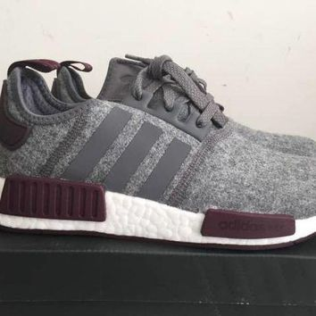 PEAP6 Adidas NMD R1 Grey Wool Maroon White CQ0761 Exclusive Boost Runner Men's Size