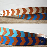 Chevron Leather Camera Strap - Electric Blue Baby Blue Chevron Ombre Design - Hand Painted Chevron Ombre Camera Strap - Genuine Leather