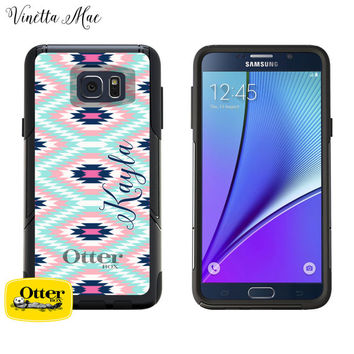 Samsung Galaxy Otterbox Commuter Series Case for Note 5 or S6 Monogrammed Aztec Tribal Print Initials Personalized Android Phone Case 1013
