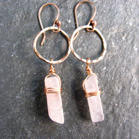 Rose Quartz Bar and Hoop Earrings in Bronze - Hammered Organic Hoops - Pink and Gold - Modern Romance Collection