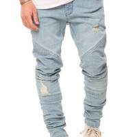 Light Indigo Denim Moto Pant