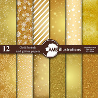 80% OFF Gold bokeh digital papers, Gold glitter papers, Gold scrapbook papers, golden papers, commercial use, AMB-589