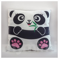 "12 x 12"" Panda Pillow, Jungle Animals, Stuffed Animal, Kids Room Decor, Children's Pillow, Kids Toys, Zoo Themed Nursery Decor"