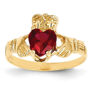 14k January Birthstone Claddagh Ring