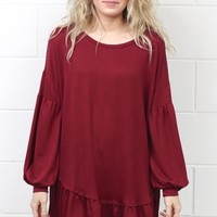 Ruffled Around the Edges Tunic {Burgundy}
