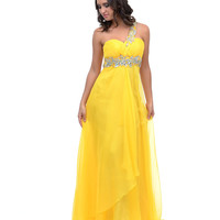 2014 Prom Dresses - Yellow Jewel Encrusted Chiffon One Shoulder Open Back Dress