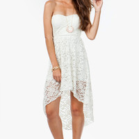 A'GACI Vintage Lace Hi Low Dress - DRESSES