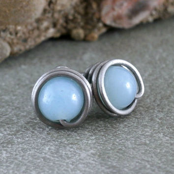 Amazonite Studs Pure Titanium Earrings Post Silver Wire Wrapped Jewelry Light Blue Earrings Amazonite Jewelry Hypoallergenic Metal