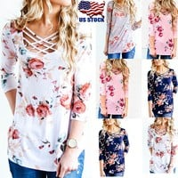 Boho Womens Floral Printed 3/4 Sleeve Blouse Ladies Casual T-Shirt Tee Tops USA