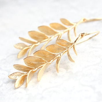 Leafy Gold Branch Earrings Long Gold Earrings Dangle Bridesmaids Gift Nature Inspired Modern Womens Fashion Jewelry Leaves Leaf Unique