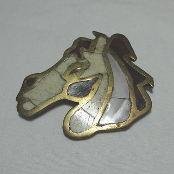 1940s or 1950s Vintage Horse Inlaid Mother of Pearl & Stone Horse Head Brooch or Pin, Brass Inlaid, Fabulous Brooch, Lock Clasp, Equestrian