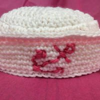 Baby girl sailor hat, photo prop hat, pink, anchor, sailing, hand crochet, baby's first pictures, pink, white, navy hat, shower gift