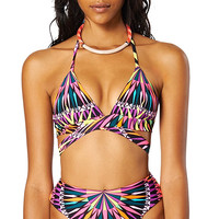 MARA HOFFMAN: Wrap Around Triangle Bikini Set - Supernova Print