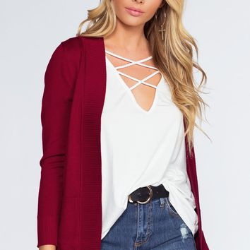 Alex Cardigan - Burgundy