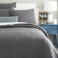 Braided Quilt + Shams - Slate
