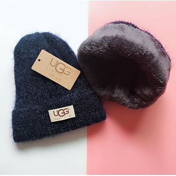 UGG Winter Popular Women Men Thick Knit Hat Warm Cap Purplish Blue