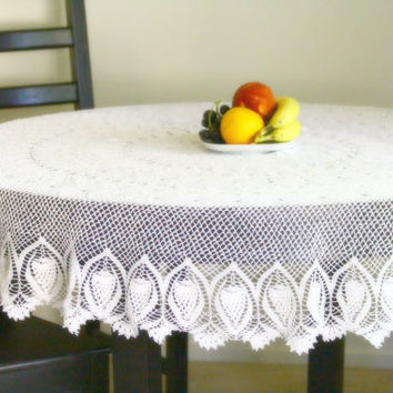 Hand crochet cotton white round tablecloth free by katerynaG