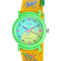 Ptl12m-9Casio Yellow Resin & Green Analog Watch