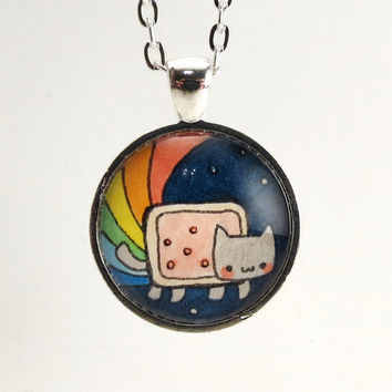 Nyan Cat Necklace Kawaii Internet Meme Kitty by cellsdividing