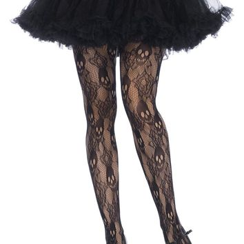 Leg Avenue Female Black Rose Skull Lace Tights 9751