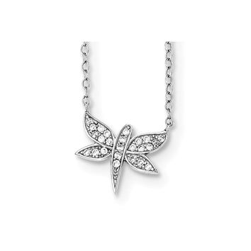 Sterling Silver CZ Dragonfly Necklace