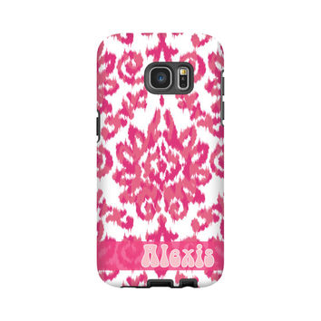 Boho Monogrammed Samsung Galaxy S7 Edge case/S7 case, pink iKat damask Galaxy S6 Edge Plus case, 6S Edge, S5 case, 3D Galaxy Note 5 case