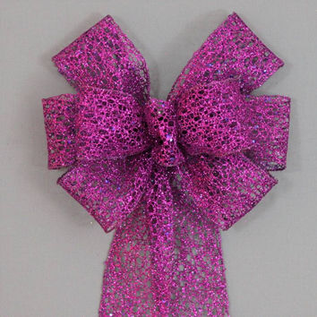 Purple Mesh Glitter Halloween Wreath Bow